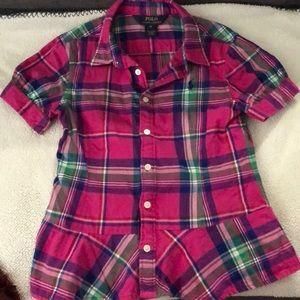 Polo Ralph Lauren pink/purple plaid girls shirt